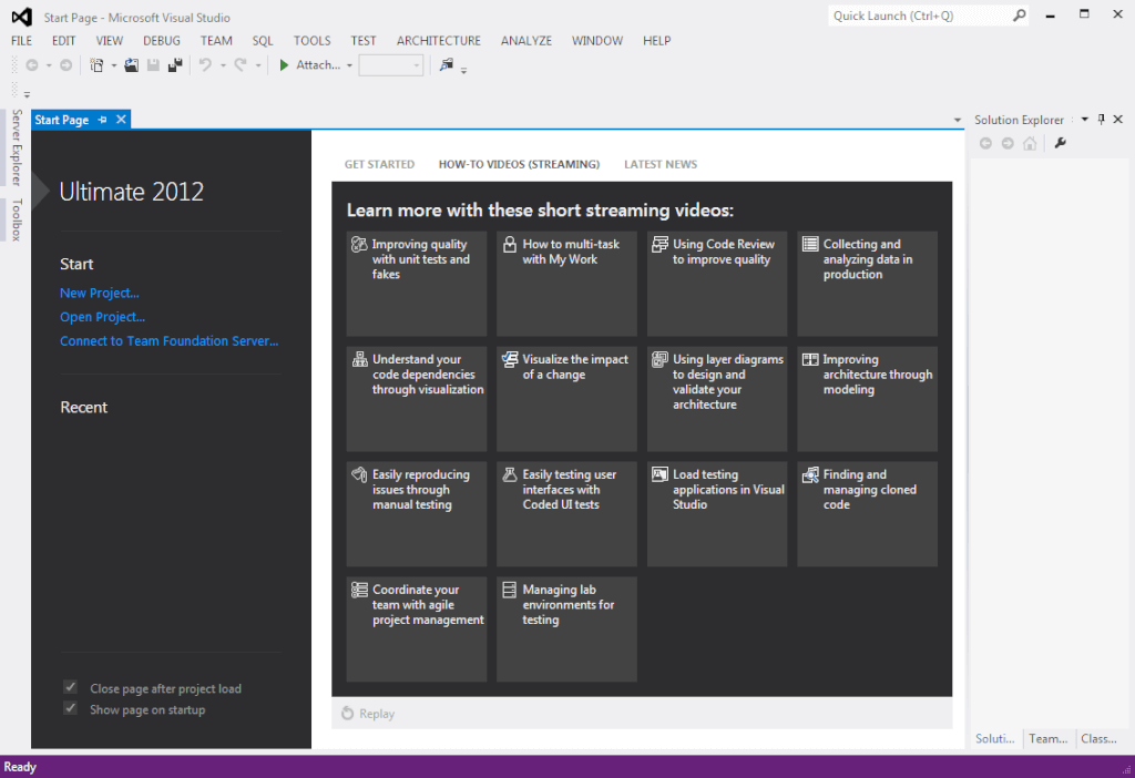 start-page-with-how-to-videos-in-visual-studio-2012